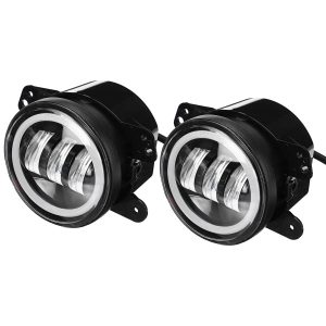Pair 4 inch 30W 3000lm LED Fog Lights Halo Angel DRL Driving Lamps For Jeep Wrangler JK TJ