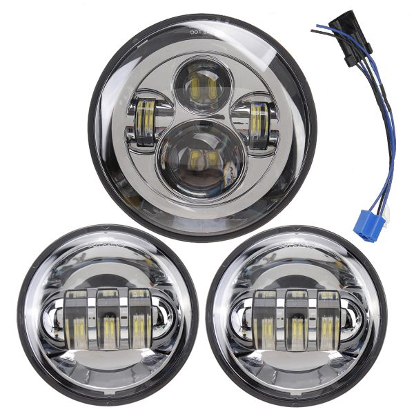 7 inch LED Projector Headlight with 4.5 inch Auxiliary Passing Lights For Harley Touring Chrome