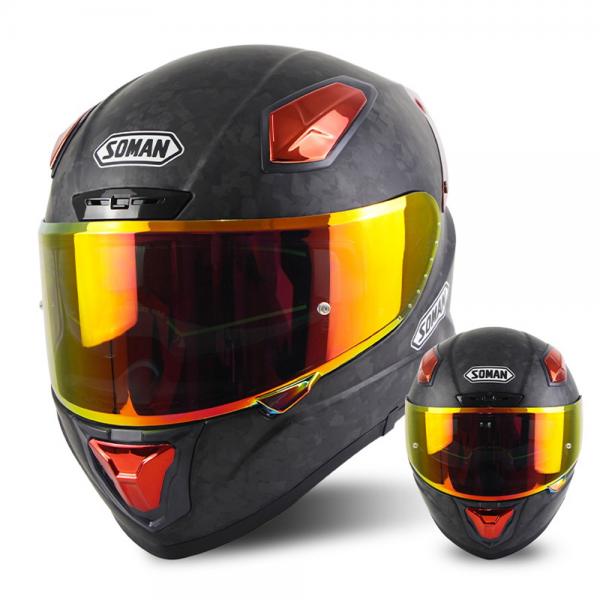 SOMAN Carbon Fiber Motorcycle Full Face Helmet Double Lens Four Seasons Adult Helmet X8