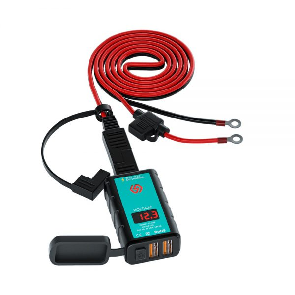ZH-1422A3 Dual Port Motorcycle Charger Waterproof SAE to USB Adapter with Voltmeter ON/Off Switch Motorbike Accessories
