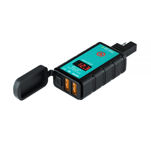 ZH-1422A2 Dual Port Motorcycle Charger Waterproof SAE to USB Adapter with Voltmeter ON/Off Switch Motorbike Accessories