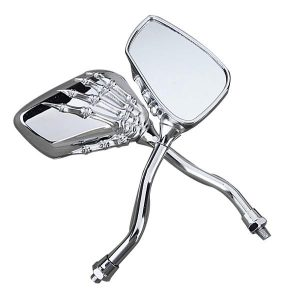 8mm 10mm Universal Motorcycle Chrome Skull Claw Side Rear View Mirrors