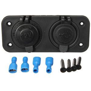 12V-24V Dual USB Charger Socket Adapter 5V 1A+2.1A For Motorcycle Bike Automobile Car Waterproof