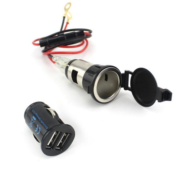 12V Dual USB Charger Vehicle Socket Adapter Motorcycle Auto Car