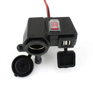 12V Motorcycle Waterproof Ignitor Socket Adapter Dual USB Charger