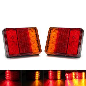 12V 8 LED Car Truck LED Rear Tail Brake Lights Warning Turn Signal Lamp Red+Yellow 2PCS for Lorry Trailer Caravans