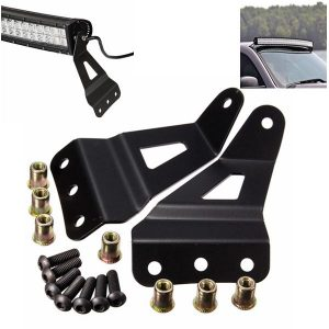 Pair Wind Shield Curved LED Light Bar Mount Brackets For Chevy/GMC