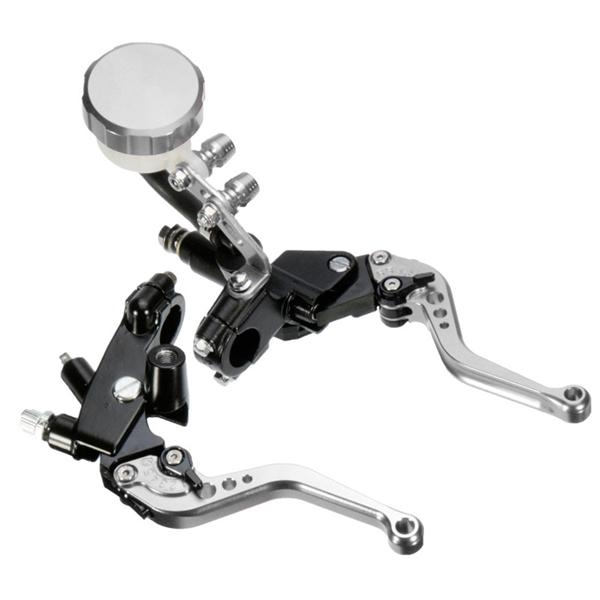 7/8 22mm Motorcycle Front Brake Clutch Master Levers Set Reservoir Cylinder Universal