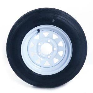 2 New Trailer Tires & Rims 5.30-12 530-12 Hole Wheel White Spoke