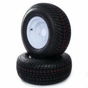 Pair Trailer Tire & Rims 205/65-10 1105 Lbs Black Rubber Tubeless
