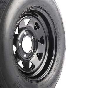 2pcs ST175-80D-13-6 Spare Replacement Rubber Tires Black Tire & Black Steel Ring