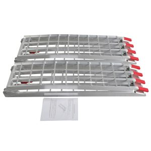 7.5ft 2pcs Heavy Duty Four-section Aluminum Arched ATV UTV Ramps Silver
