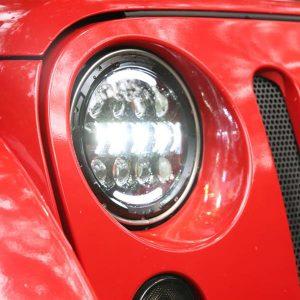 2pcs 7 Inch 80W 8-LED 6500-7000K White Light IP67 Waterproof LED Headlights for Motorcycles Black