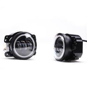 2pcs 4.0 Inch 30W 6-LED 6500K White Light IP67 Die-cast Aluminum Day Light Fog Lamps for Jeep Black