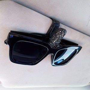 Bling Sunglasses Holder Clip Diamond Rhinestone Shining Car Visor Sunglasses Clip Holder