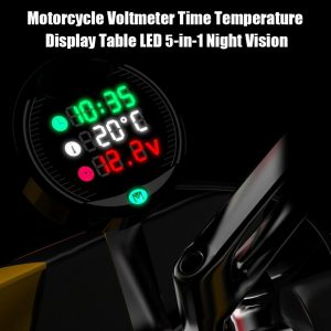 Motorcycle Voltmeter Time Temperature Display Table LED 5-in-1 Night Vision