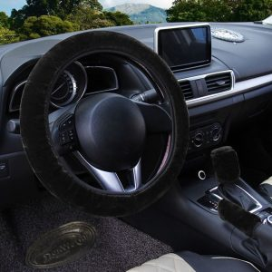 Fluffy Steering Wheel Cover Set, 3 pcs Winter Warm Steering Wheel Cover Handbrake Cover Gear Shift Cover, Universal Plush Non-Slip Interior Accessories, Black