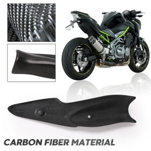 Motorcycle Heat Shield Cover Guard Middle Link Pipe Exhaust System Carbon Fiber Anti-Scalding Shell Replacement for Kawasaki Z900 2017-2019