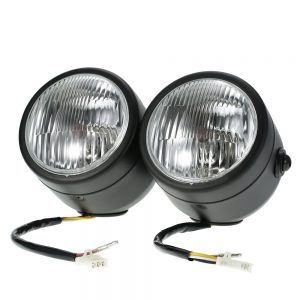 H4 12V 35W 4-inch Motorcycle Chrome-plated Twin Headlight Front Lamp for Harley