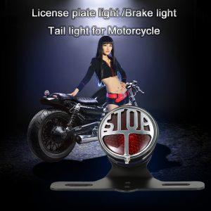 12V License Plate Lamp Brake Tail Light LED Stop Light Universal for Motorcycle
